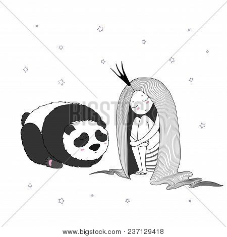 Hand Drawn Vector Illustration Of A Sleeping Princess With Long Hair And Panda Among The Stars. Isol