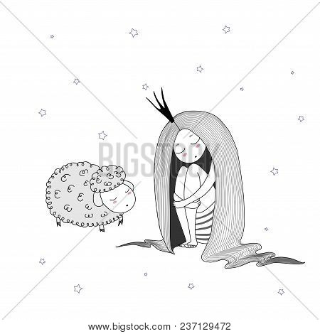 Hand Drawn Vector Illustration Of A Sleeping Princess With Long Hair And Sheep Among The Stars. Isol