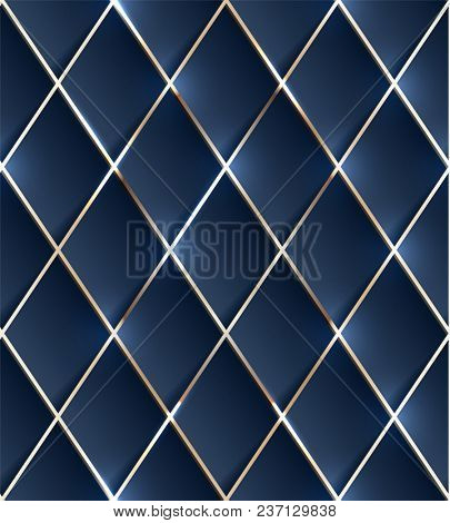 Seamless illustration of blue background with shiny metallic grid -  raster version