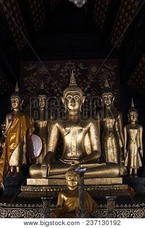 Buddha Indoors Gold Lanna Style Architecture Wat Phra That Lampang Luang Thailand