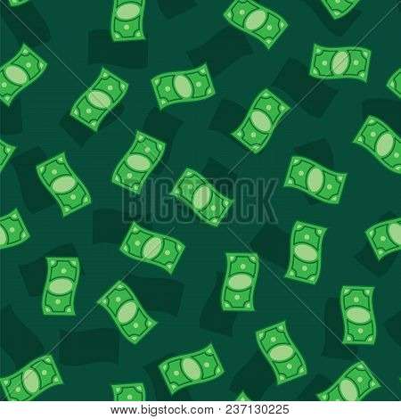 Money Banknotes On Green Background. Seamless Pattern Green Money Bills. Green Money Pattern