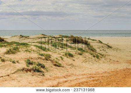 Beach Of Dunes In Spain Bathed By The Atlantic Ocean