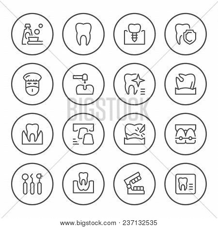 Set Of Dental Related Round Line Icons Isolated On White. Vector Illustration