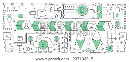 Bitcoin, Cryptocurrency And Blockchain Technology. Blockchain Global Network Transaction Chain. Flat
