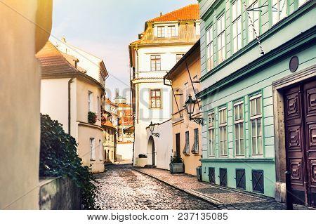 Beautiful Street With Old Buildings In Prague, Czech Republic.
