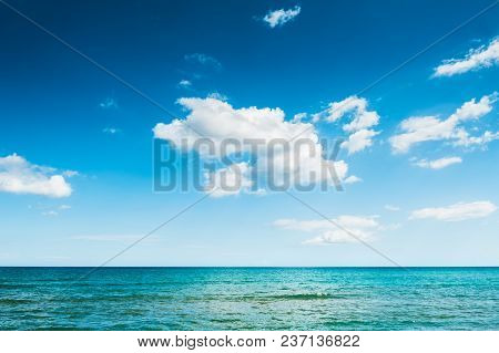 Beautiful Blue Sea And Blue Sky With Clouds. Crete Island, Greece.