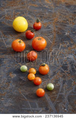 Mix Tomatoes In Summer Day. Composition Of Variety Fresh Tomatoes. Rustic Dark Styling. Top View.