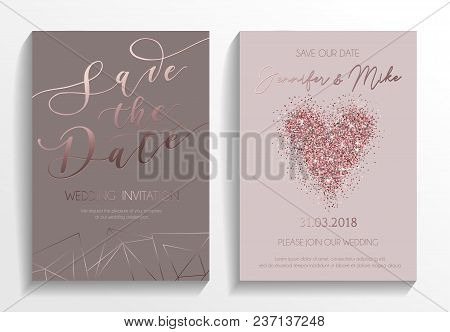 Wedding Invitation Card Set. Modern Design Template With Rose Gold Glitter Heart And Lettering. Eleg