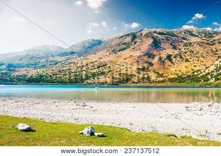 Kournas Lake In The Mountains On Crete Island, Greece.