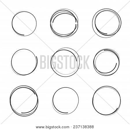 Vector Illustration Set Of Hand Drawn Scribble Circles Isolated On White Background, Logo Design Ele