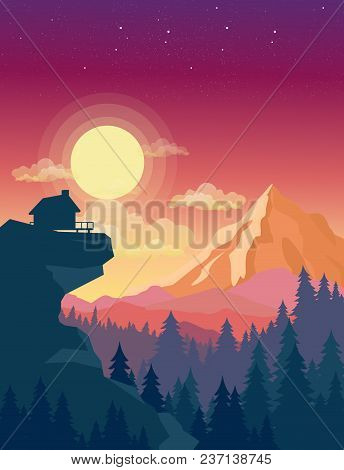 Vector Illustration Of House On Top Of Mountain With Beautiful Sunset In Mountains Landscape On Back