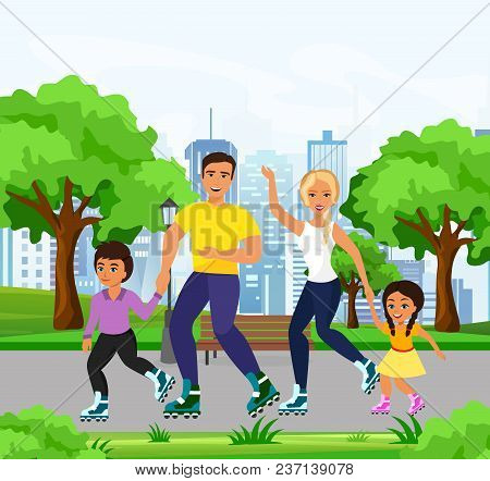 Vector Illustration Of Happy And Smiley Family Skating On Roller Skates In The Park. Dad, Mom, Daugh