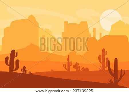 Vector Illustration Of Western Texas Desert Silhouette. Wild West America Scene With Sunset In Deser