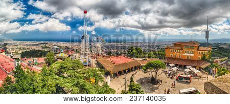 Barcelona - August 12: Panoramic View Over Tibidabo Amusement Park And Barcelona, Catalonia, Spain O
