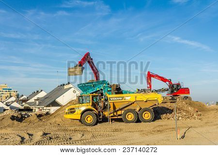 The Hague, The Netherlands - 19 April 2018: Earth Moving Vehicles Doing Construction Work At Kijkdui