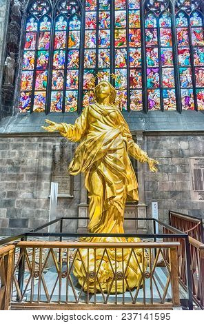 Milan - September 11: Replica Of The Golden Madonna Statue Inside The Cathedral Of Milan, Italy, Sep