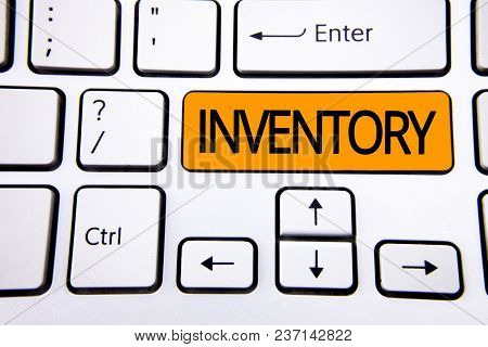 Text Sign Showing Inventory. Conceptual Photo Complete List Of Items Like Products Goods In Stock Pr