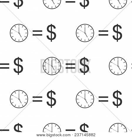 Time Is Money Sign Icon Seamless Pattern On White Background. Money Is Time. Effective Time Manageme