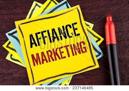 Handwriting Text Affiance Marketing. Concept Meaning Joining Two Or More Companies In Same Field Mut