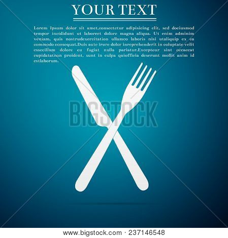 Crossed Fork And Knife Icon Isolated On Blue Background. Restaurant Icon. Flat Design. Vector Illust