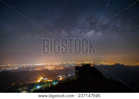Night Landscape Mountain And Milky Way  Galaxy Background , Thailand , Long Exposure , Low Light