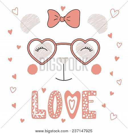 b553b47e01 Hand Drawn Vector Portrait Of A Cute Funny Panda In Heart Shaped Glasses
