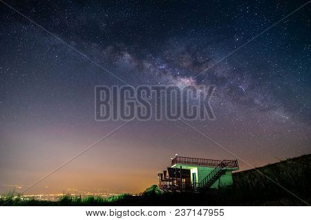 Night Landscape Mountain And Green Hut Milky Way  Galaxy Background , Thailand , Long Exposure , Low