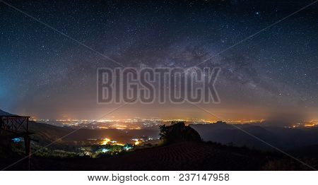 Panorama Night Landscape Mountain And Milky Way  Galaxy Background , Panoramic Thailand  , Long Expo