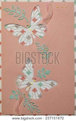 Postcard In Style Of Scrapbooking With Butterflies On A Pink Background With Decorative Elements.con