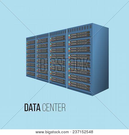 Data Center Hosting Concept With Data Storage, Flat Vector Illustration
