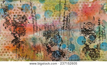 Background In The Technique Of Scrapbooking In Multi Colored Tones. Abstract Background Of Handmade
