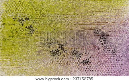 Background In The Technique Of Scrapbooking In Multi Color Tones.abstract Background Of Handmade