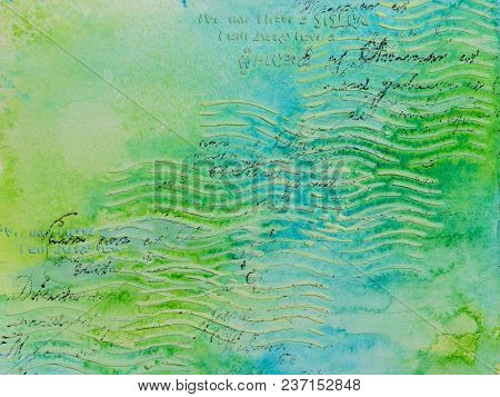 Background In The Technique Of Scrapbooking In Blue Green Tones With Ornament. Abstract Background O