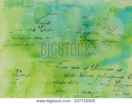 Background In The Technique Of Scrapbooking In Blue Green Tones With Text. Abstract Background Of Ha