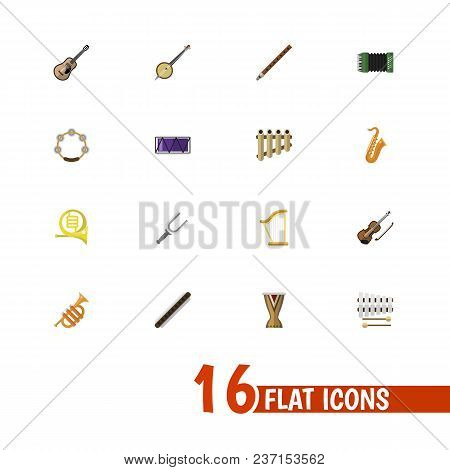 Set Of 16 Editable Media Icons Flat Style. Includes Symbols Such As French Horn, Guitar, Clarinet An