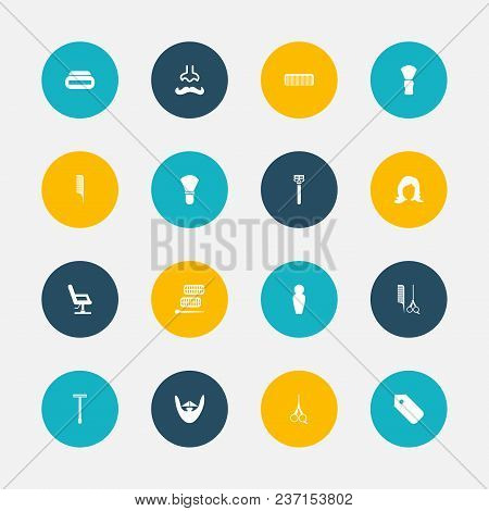Set Of 16 Editable Barbershop Icons. Includes Symbols Such As Barber Tools, Foam, Shaving And More.