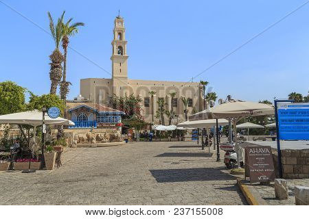 Tel Aviv, Israel - September 17, 2017: This Is The Square Of Antiquities And The Church Of St. Peter