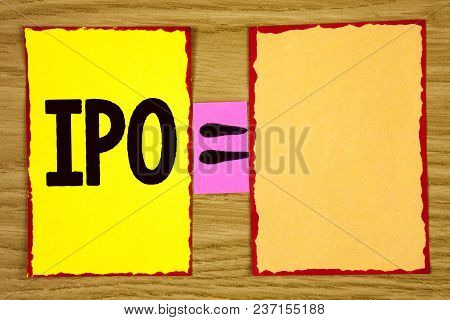 Conceptual Hand Writing Showing Ipo. Business Photo Text Initial Public Offering First Time Stock Of