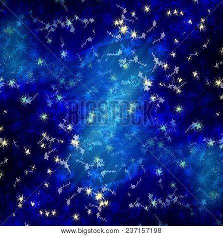 sun's rays on a blue dark sky with with music notes, abstract background