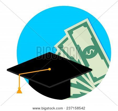 Scholarship Or Study Grant Icon Flat. Finance Money Scholarship For College, Investment In Degree Un