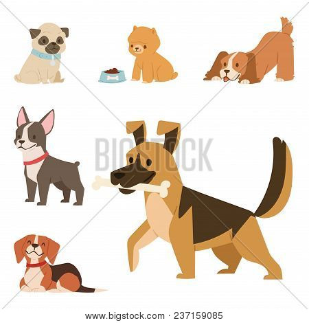 Puppy Vector Illustration Cute Dogs Characters Funny Purebred Puppy Doggy Comic Smile Happy Mammal B