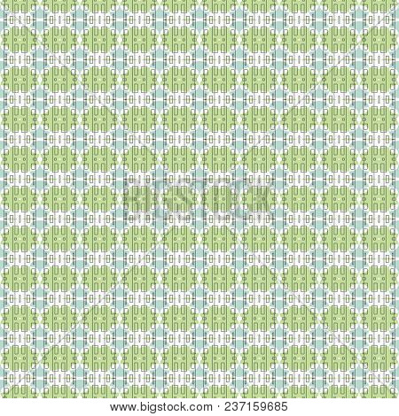 Ethnic Geometric Pattern In Repeat. Fabric Print. Seamless Background, Mosaic Ornament, Retro Style.