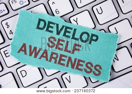 Handwriting Text Writing Develop Self Awareness. Concept Meaning Improve Your Informations About Sur