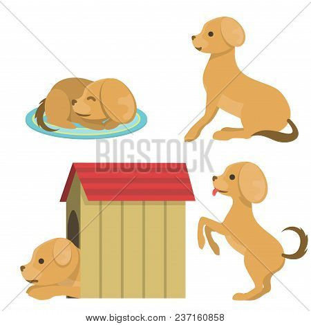 Vector Illustration Cute Dog Character Funny Purebred Puppy Comic Smile Happy Mammal Breed Drawing.