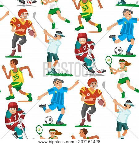 Health Sport Seamless Pattern Background Wellness Flat People Characters Sporting Man Activity Woman