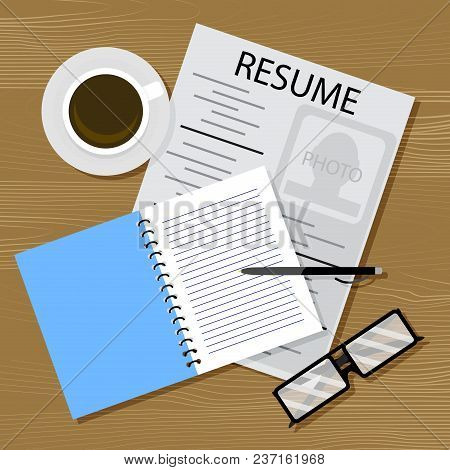 Find Work, Resume On Table. Vector Career, Resume And Hiring, Cv Applicant Illustration