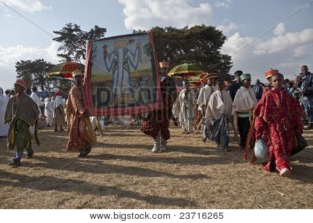 Christian Orthodox Devotees Carrying Religious Pictures At The Timket Festival.