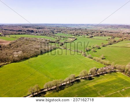 Aerial photo English rural countryside landscape