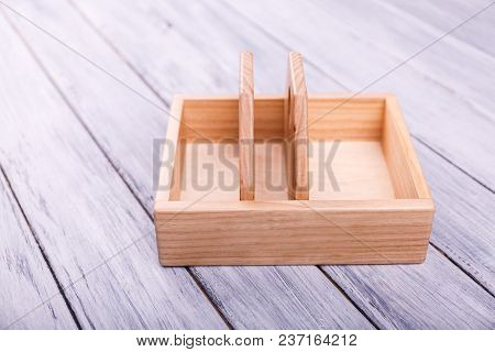 Educational Games For Children. Different Geometrical Figures On The Wooden Background. Entertaining