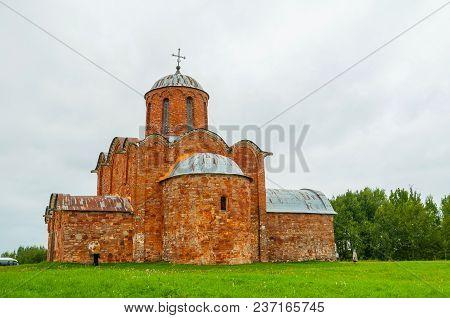 Church Of The Transfiguration Of Savior On Kovalevo In Veliky Novgorod, Russia. Architecture Landsca